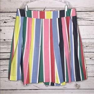 Boden 16R Multi-Color Striped Pleated A-Line Skirt
